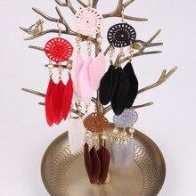 tassel earrings Women Bohemian Fan-shaped Beaded Tassel Feather Earrings boucle doreille femme 2019 oorbellen Drop Shipping bohemian beaded tassel drop earrings