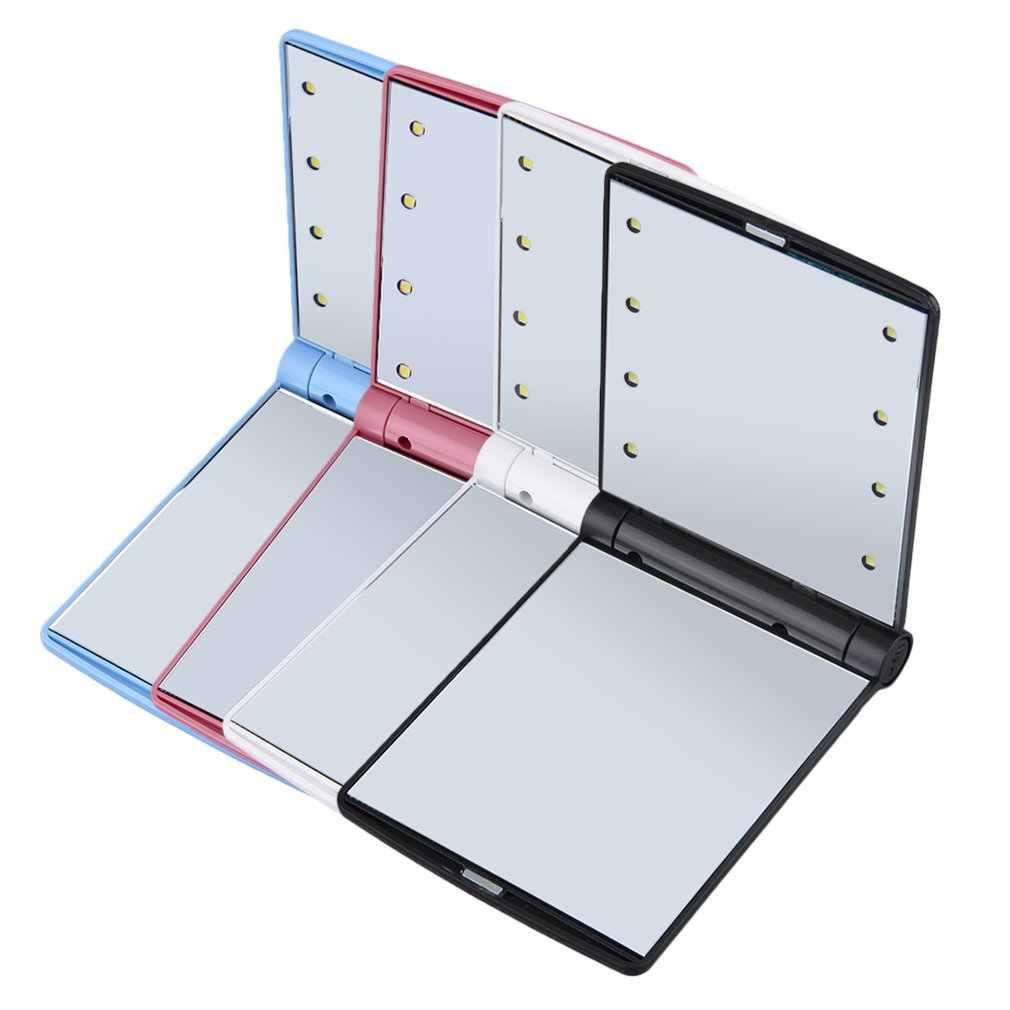 8 LED Mini miroir de maquillage Compact à main pli petit Portable poche dame cosmétique miroir de vanité avec lumières noir blanc rose