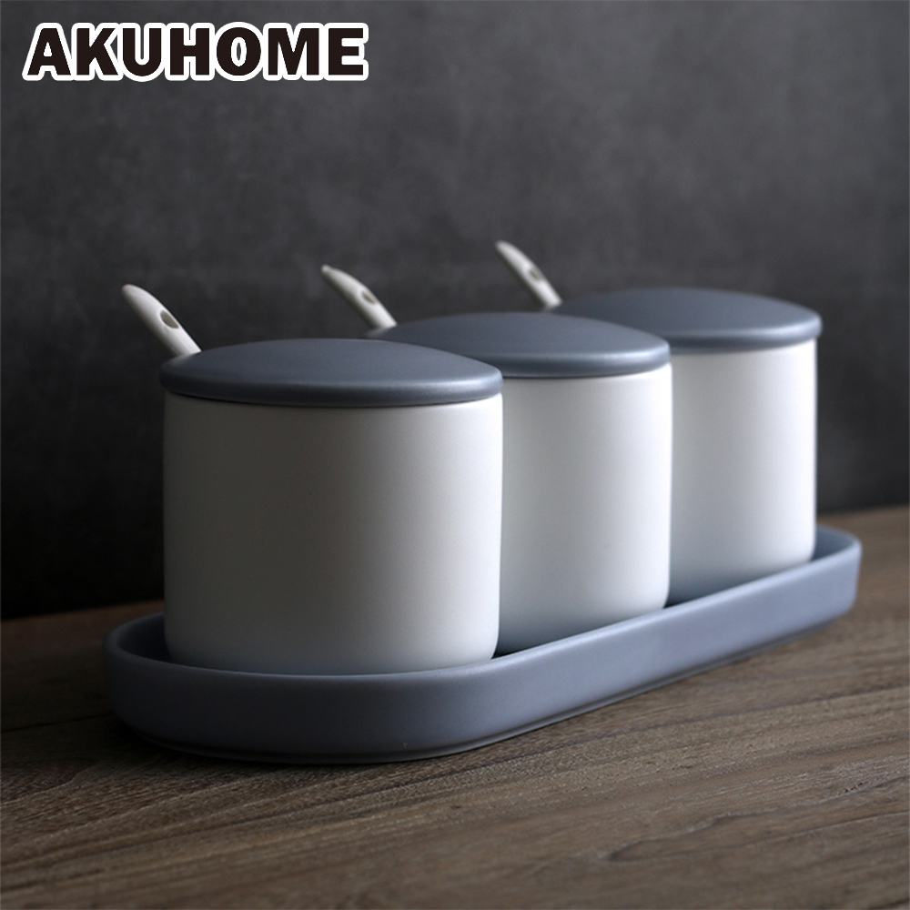 Ceramic Oil Salt Tank Spice Jar Set Household Ceramic Salt Kitchen Box AKUHOME