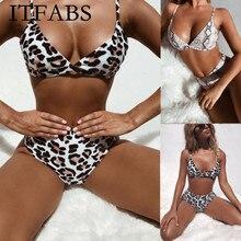 ITFABS, Модный женский купальник с подкладкой, пуш-ап, Леопардовый принт, купальник, купальники, комплекты бикини