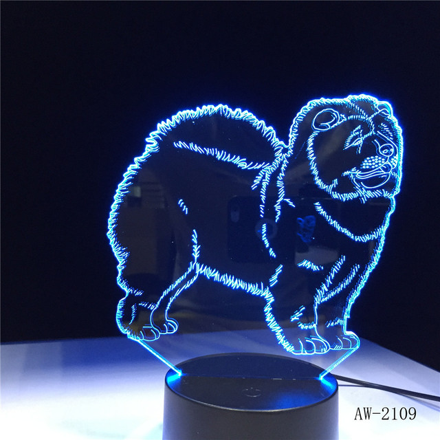 Chow Chow Dog 3D Candeeiro de Mesa de Toque Lâmpada Night Light Kid Toy LED 3D 7 Cores Piscando LED Luz Homer decorações para Casa AW-2109