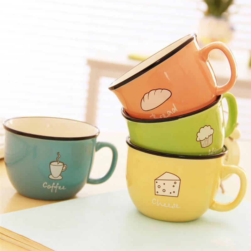Cute Cartoon Ceramic Milk Coffee Mug Cup Breakfast Tea Juice Mug For Home Office Candy Color Painted Coffee Cup Birthday Gift Кубок