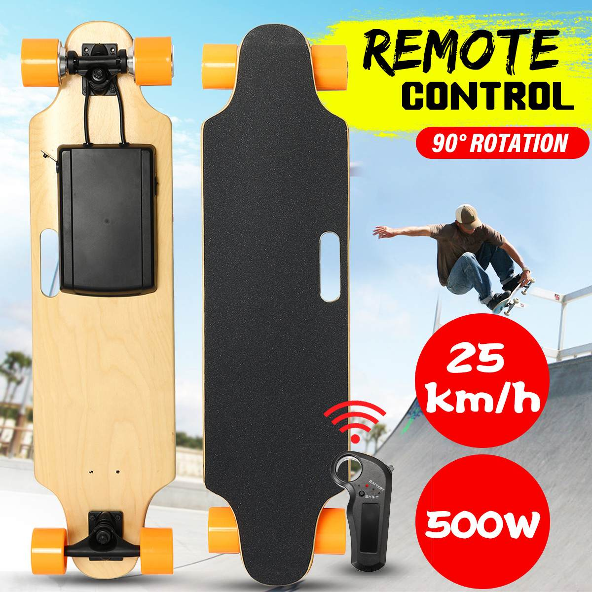 25km/h 500W Electric Scooter Dual-motor Four Wheels Adult Scooter Wireless Remote Control Small Fish Plate Skate Board
