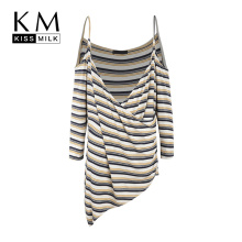 Kissmilk Plus Size Winter Simple Commuter Sexy Sling Strapless V-neck Asymmetric Long-sleeved Striped Knit Top For Female v neck asymmetric lace panel top