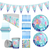 Ultimate Mermaid Girl Party Supplies Set For 16 Guests Party Favors Set Decor & Tableware Plate Sraws Table Cloth Cups