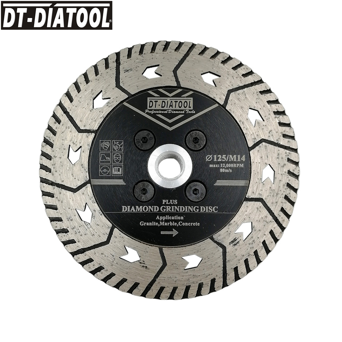 DT-DIATOOL 1pc 5inch/125mm Diamond Cutting Disc Grindng Saw Blades with M14 Thread for Grinding Granite Marble Concrete wheel
