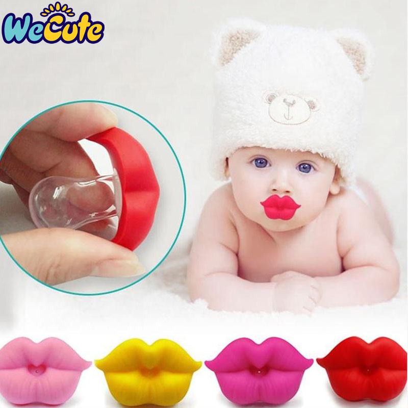 Wecute Baby Pacifier Clip Red Kiss Lips Dummy Pacifiers Funny Silicone Baby Nipples Teether Soothers Pacifier Kids Feeding