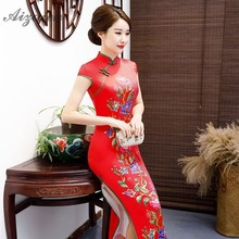 2019 New Printing Long Cheongsam Dresses Modern Qipao Green Red China Silk Qi Pao Chinese Traditional Dress Plus Size Gown