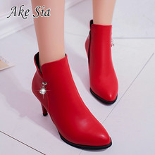 2019 winter new female pointed stiletto single shoes high heel boots women comfo