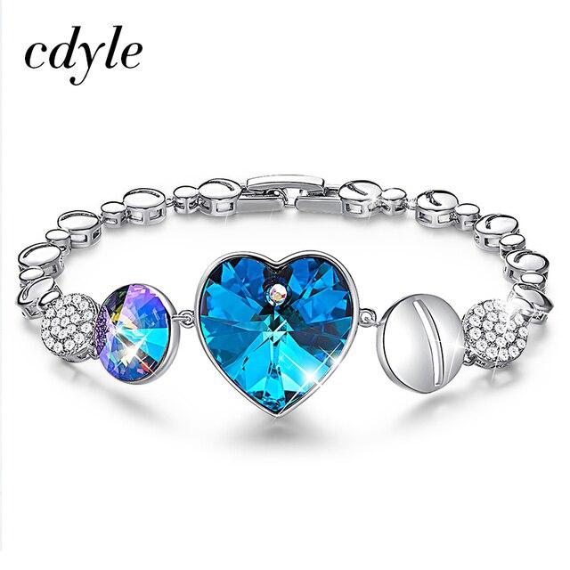 Cdyle Embellished with crystals from Swarovski Women Bangles & Bracelets Fashion Jewelry Charm Bracelets For Women Jewellery
