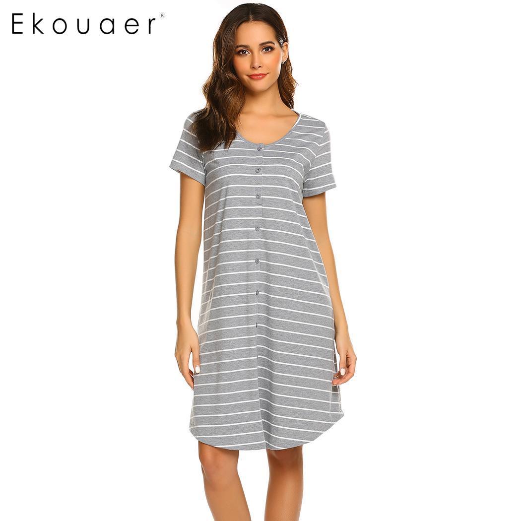 1df5907fcf9 Ekouaer Striped Nightgown Women Casual Sleepwear Dress O-Neck Short Sleeve  Maternity Breastfeedin Nighties Nightdress