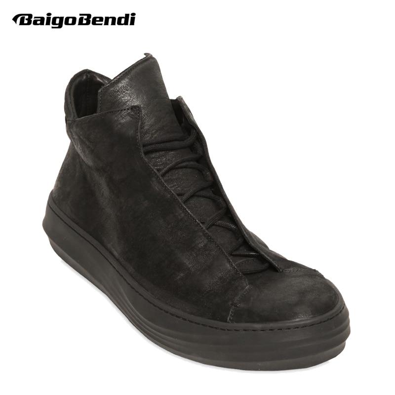 Pur Noir D'hiver Bottes Hommes Bottes Plates En Cuir Véritable De Base D'hiver Chaussures En Peluche Chaud De Fourrure Coton Chaussures Homme NOUS 6 -10