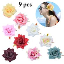 9PCS Fashion Simulation Fabric Rich Retro Rose Hairpin Clip Elegant Faux Decor Hair Clips Styling Accessories 2019 New