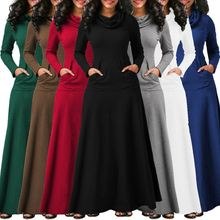 S-5XL Women Long Sleeve Dress Large Size Elegant Long Maxi Dress Autumn Warm Turtleneck Woman Clothing With Pocket Plus Size поселягин в спец