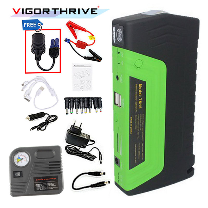 Car Jump Starter Vehicle Engine Booster Emergency Start Battery Portable Charger Power Bank for Electronics with pump 2USB