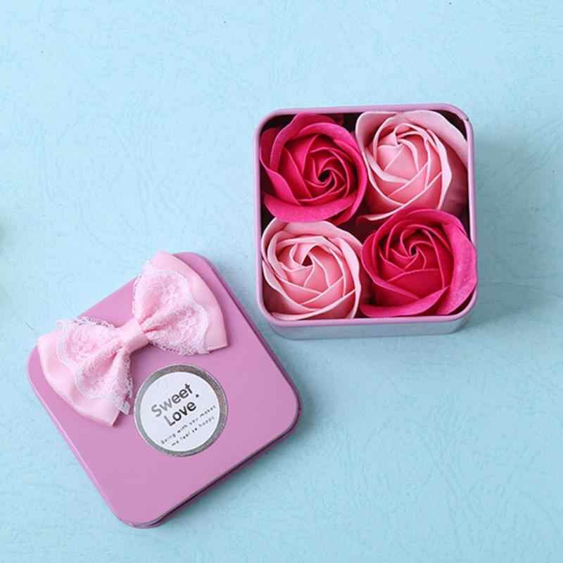 4pcs/Box Creative Artificial Rose Flower Scented Soap Bath Body Petal Perfumed Soaps with Iron Box Valentine Day Gift Fake Plant