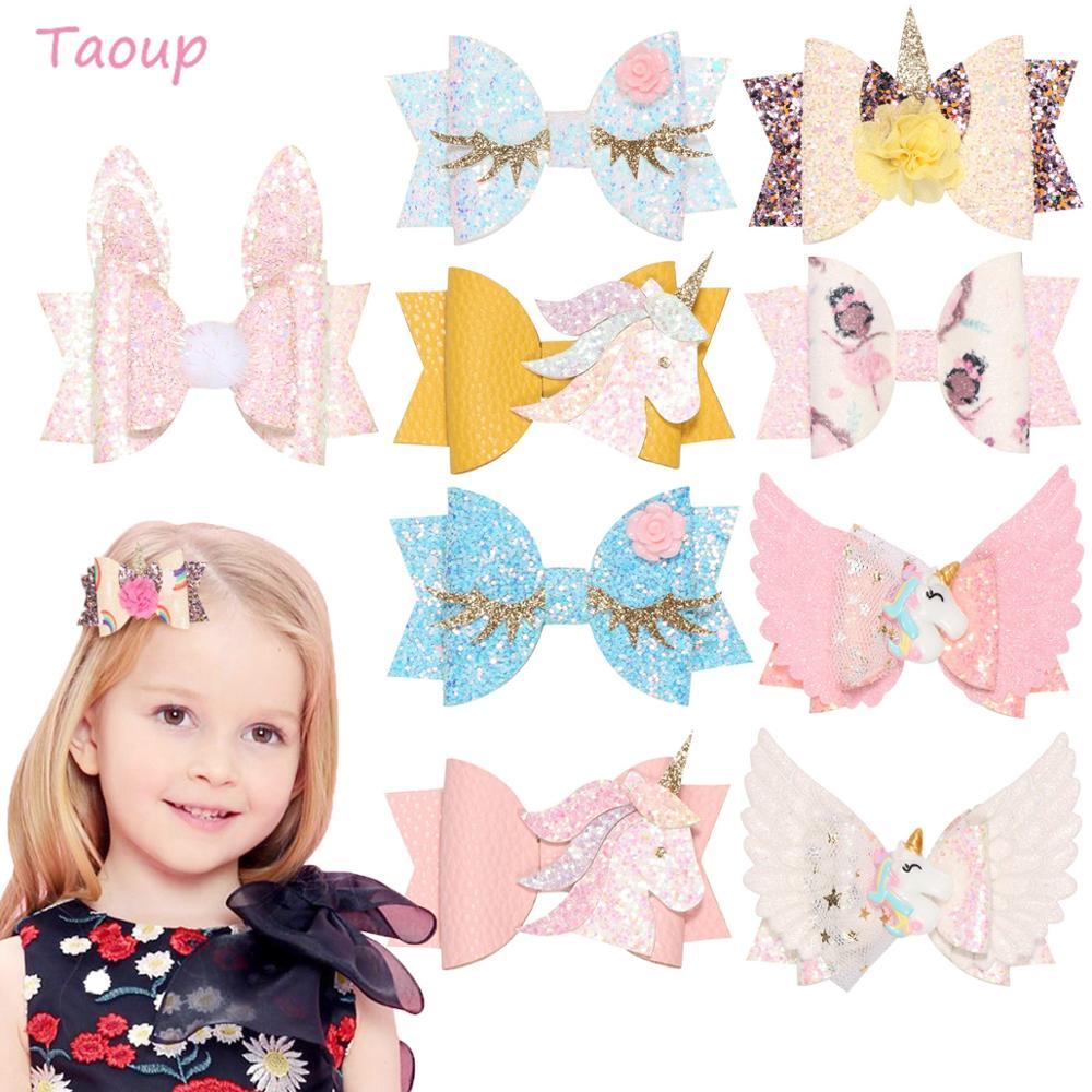 Taoup 1pc Cute Glitter Happy Brithday Unicorn Horn Hairclip Decor Unicornio Babyshower Girl Shine Cartoon Hair clip DIY