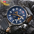 MINI FOCUS 2019 Sports Chronograph Watch Men Quartz Clock Blue Dial Calendar Leather Strap Multifunction Wristwatches Waterproof|Quartz Watches|   -