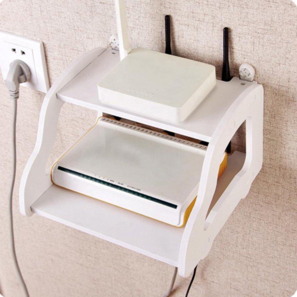 Weiß Lagerung Dekorative Wand Regal Wifi Router Box Wand Montiert Tv Set Up Box Auto Geformt Schlag Kostenloser