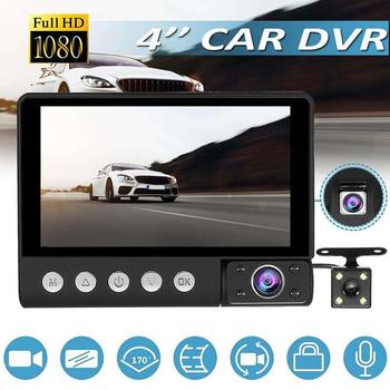 """4"""" IPS Screen 1080P FHD Wide Angle Three Lens Tachograph Car Camera Recorder Inside Outside Camera Recorder Night Vision"""