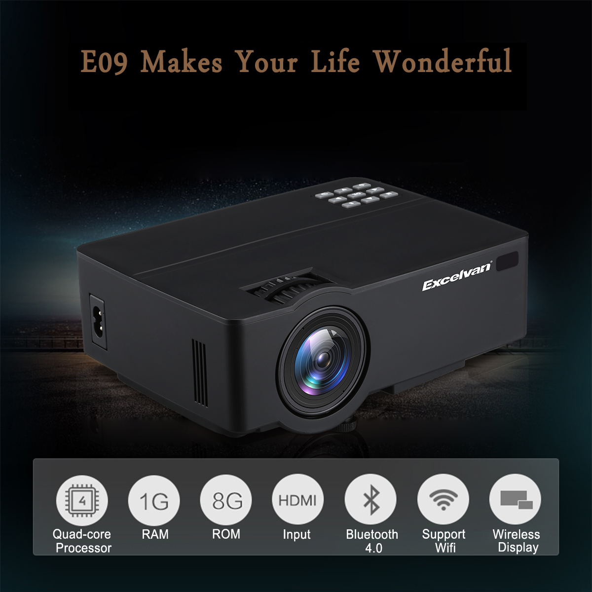 Excelvan Cl720 Full Hd Home Theater Projector 3000 Lumen: Excelvan E09 E08S Android 6.0.1 Multimedia Home Theater
