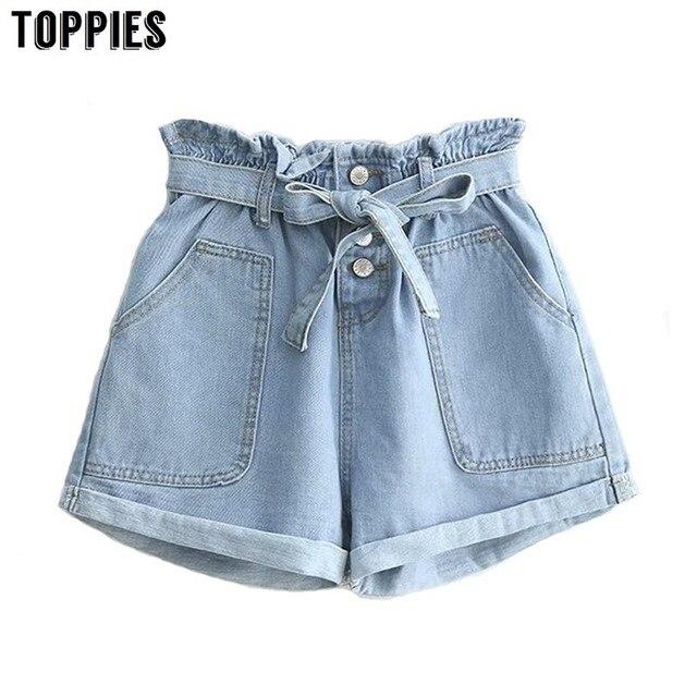 קיץ ג 'ינס מכנסיים קצרים כפתור לטוס סקסי ג' ינס שרוך גבוה מותניים מכנסיים קצרים אירופאי בציר קאובוי Bottoms