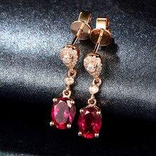 Красные серьги из розового золота 14 к с рубином Перидотом, серьги с бриллиантами, серьги для женщин, серьги с агатом