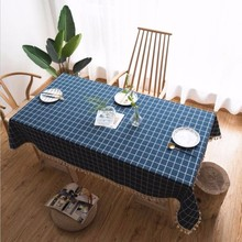 New Tablecloth Plaid Embroidered Simple Solid Color Cotton And Linen Tassel Rectangular For Table Dinner