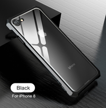 For iPhone 8 Plus Bumper Iphone8 Clear Tempered Glass Back Cover with Metal Frame Case for 7 7Plus 8Plus