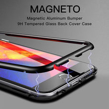 mobile cell phone 360 shockproof metal bumper tempered Glass magnetic Adsorption for huawei mate 10 pro