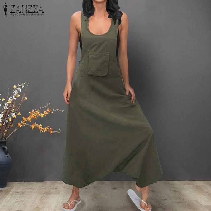 ZANZEA Rompers Women Straps Jumpsuit Loose Overalls Ladies Drop-Crotch Long Playsuits Solid Combinaison Femme Macacao Plus Size