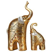 2Pcs Creative Crafts Resin Elephant Desk Figurines European Style Decorations Home Living Room Bedroom