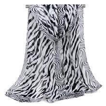 Zebra Print Long Chiffon Scarves For Women Fashion Shawl And Wraps Ponchos Spring Autumn Black White Striped Beach Silk Scarf