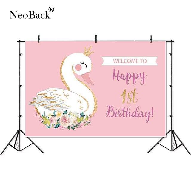 Thin Vinyl happy birthday flower crown swan party children baby Photography studio Backgrounds profession indoor Photo Backdrop