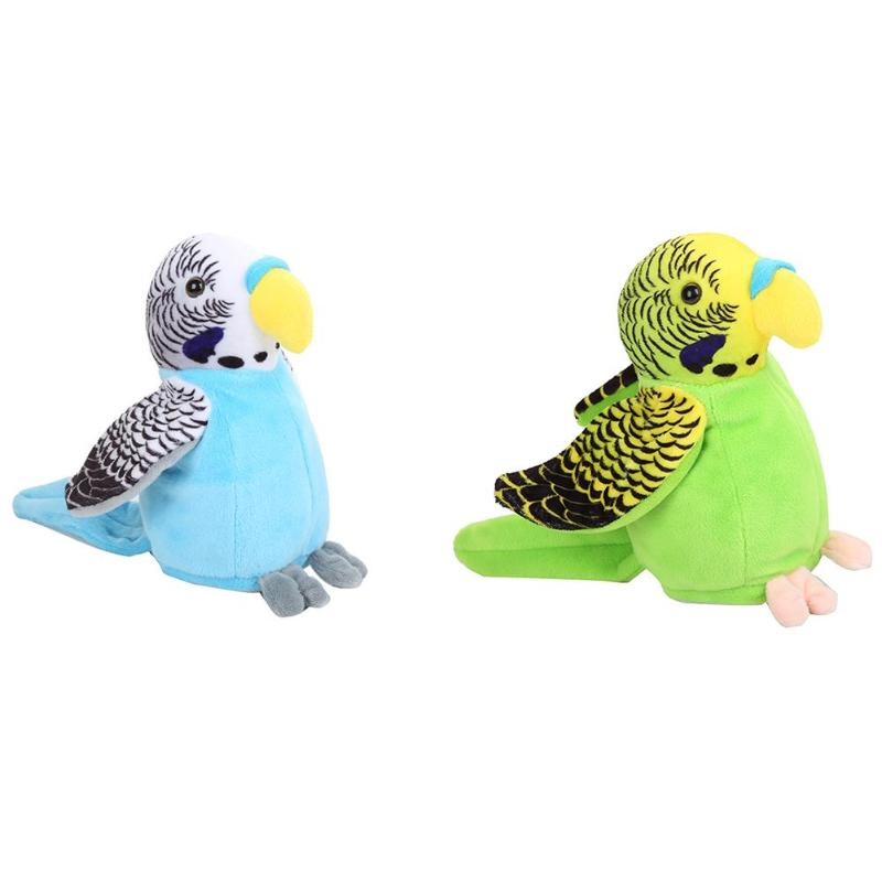 Electric Talking Parrot Toys Speaking Record Repeats Waving Wings Plush Toy Bird Stuffed Toy Kids Birthday Gift
