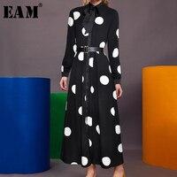 [EAM] 2019 Spring Winter Woman Black Color White Dot Long Sleeve Bow Collar Adjustable Waist Long High Tight Waist Dress LE823