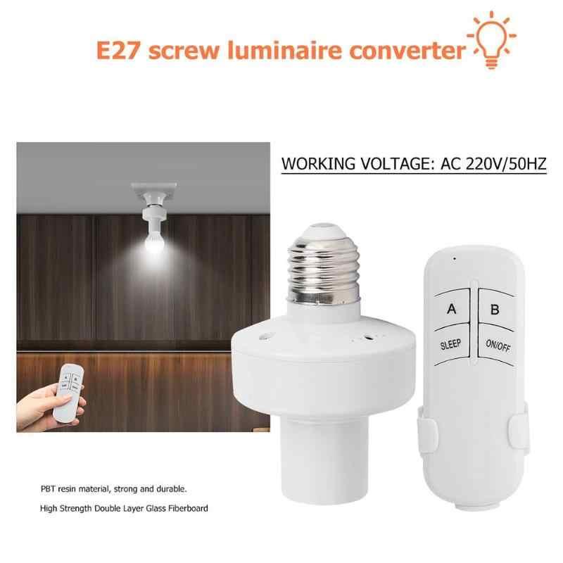 Profesjonalny E27 świecznik śrubowy konwerter AC 220V bezprzewodowy pilot przełącznik lampy żarówka złącze wtykowe