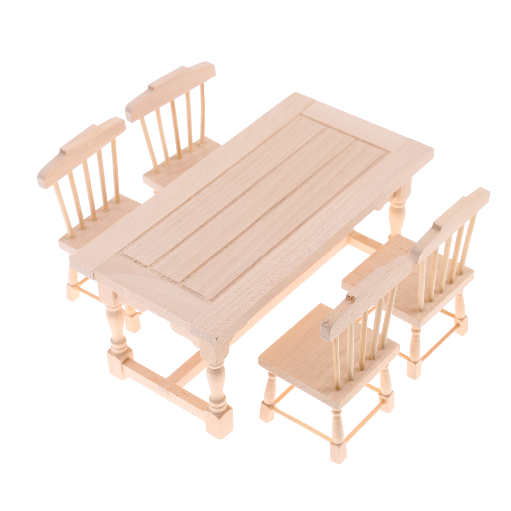 1/12 Dollhouse Dining Room Furniture Natural Wood Dining Table Chairs Set