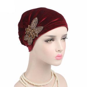 Image 2 - Gorra India musulmana para mujer, gorro de terciopelo para mujer, gorro turbante de quimio con cuentas, sombreros de flores, gorro de cáncer interior elegante