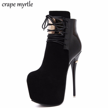 high heeled fur boots womens pumps lace up womens black boots sexy shoes ladies pumps ankle boots for women high boots YMA510