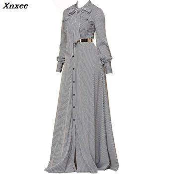цена на Women Striped Maxi Dress Floor-length Bowknot Tie Long Sleeve Loose Button Dress Spring Pocket Elegant A-line Casual Long Dress