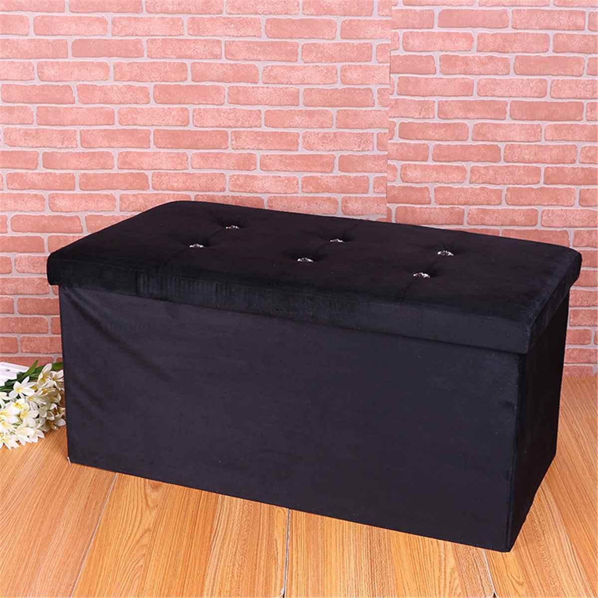 Pliable noir flanelle pouf pouf boîte de rangement siège jouets titulaire chaise pied chaussures tabouret accueil organisateur décoration 76x38x38 cm