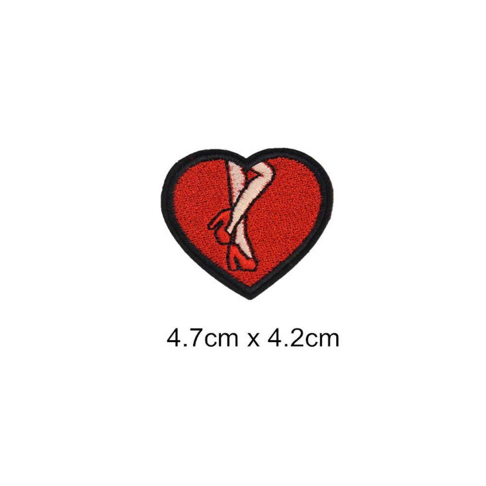 Parches de dinosaurio de ángulo de corazón, zapato de hierro en apliques bordados accesorios de ropa de bricolaje parche ropa insignias de tela BU213