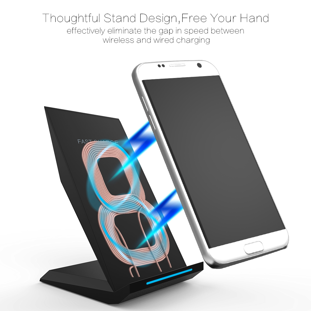 Image 3 - KEPHE 10W Qi Wireless Charger Quick Charge 3.0 Fast Charging for iPhone 8 10 X Samsung S8 S9 S10 2 Coils Stand 5V/2A & 9V/1.67A-in Mobile Phone Chargers from Cellphones & Telecommunications