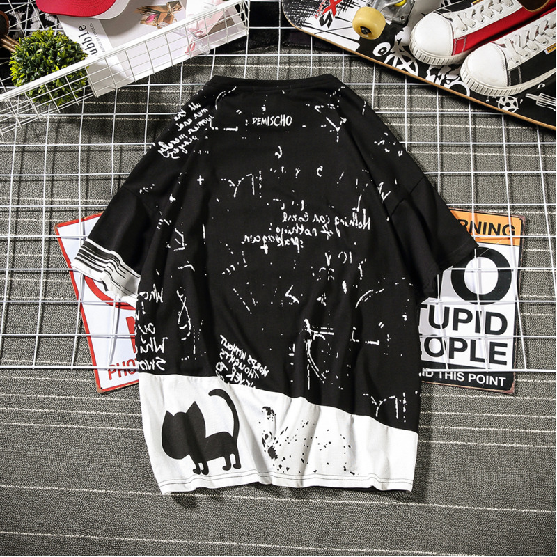 2019 New Korean Version Of The Tide Male Harajuku Quality Street Men Loose Animal Graffiti Large Size Casual Cute Shirt-in T-Shirts from Men's Clothing on Aliexpress.com | Alibaba Group 4