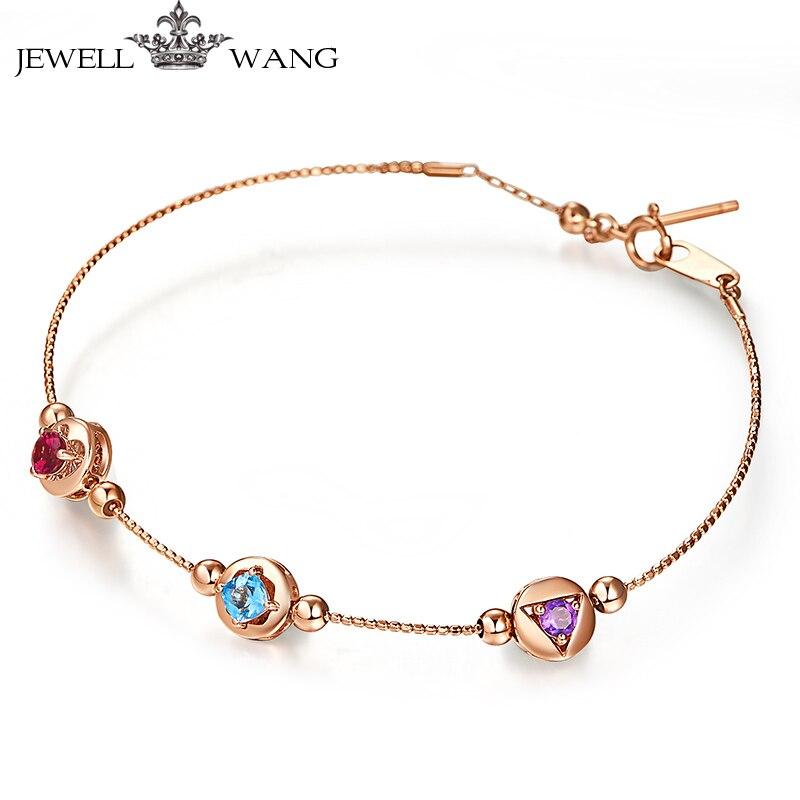 JEWELLWANG 18K Rose Gold Bracelets Natural Amethyst Bracelet for Women Girls Cute Fine Jewelry Genuine Rose Gold Chain Bracelet цена 2017