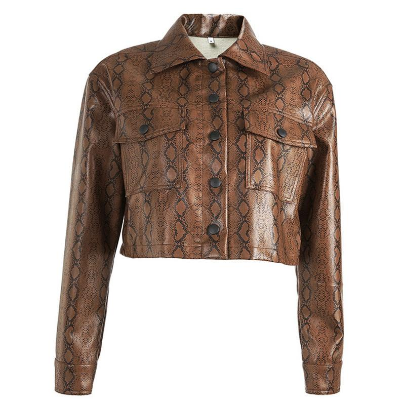 Fashion Snake Print Faux   Leather   Jacket Cropped Snakeskin Female Jacket Coat Autumn Winter 2018 Basic Jackets Outwear Pu   Leather