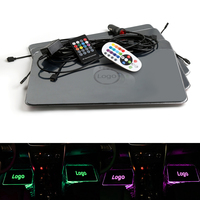 Car LED Decorative Sound control Colorful Light With Remote Interior Floor Mats For Hyundai logo Atmosphere lamp