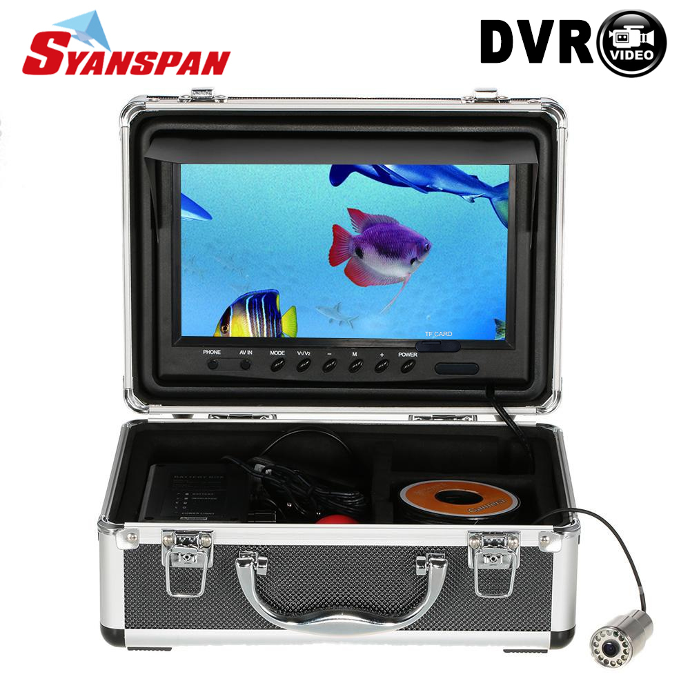 SYANSPAN 9 Fish Finder IP68 HD 1000TVL Recording Edition Underwater Fishing Video Camera with 12 PCS