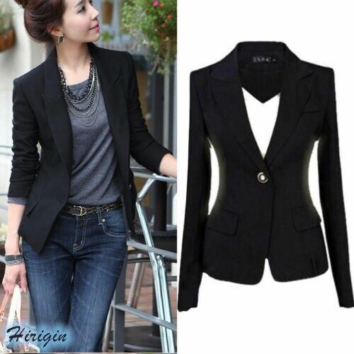 Frühling Sommer Frauen Casual Jacke HEIßE Frauen Schwarz Schlank Single Button Casual Business Jacke Größe S-3XL